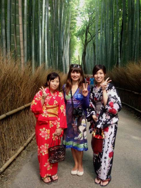 Yui and Manami at the Bamboo Grove, Kyoto